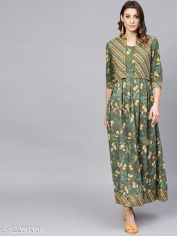 Green Printed Box Pleated Maxi Dress With Jacket