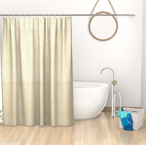"""Lushomes Cream Dyed Pixel Designer Bathroom Shower Curtain with 12 Plastic Eyelets and 12 C Rings (71 x 78"""", Single PC)"""