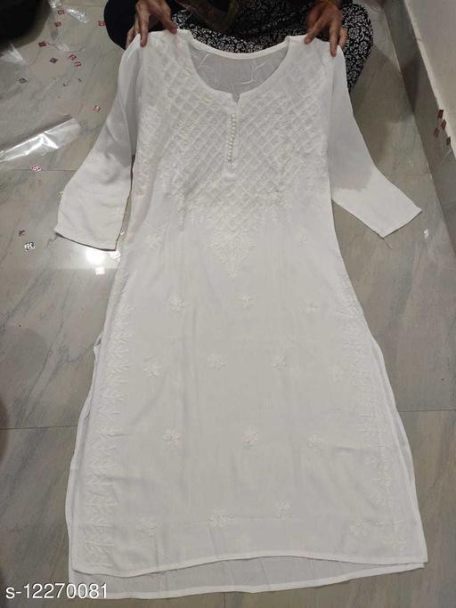 Women's Chikankari White Rayon Kurti