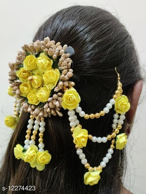 Attractive Women's   Yellow Fabric Artificial Gajra