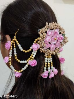 Attractive Women's Pink Floral Hair Accessories