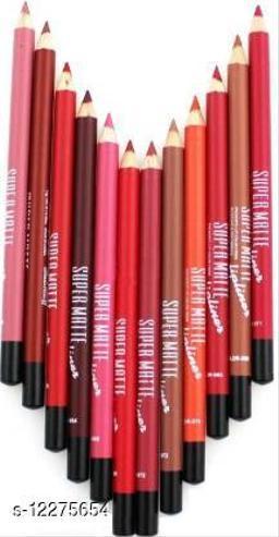 Super Matte Lipliner pack of 12  (Multicolor)