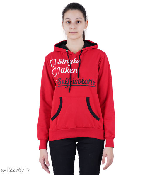 zebu women's Full Sleeve Cotton Blend Sweater with Hoodie and Pocket (Pack of 1).