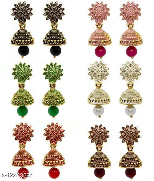 Designer colorful Flower Jhumki combo 6 pairs Jhumka earrings combo for women
