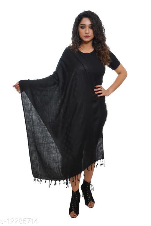 Women Plain Black, Self embellished woven Stole