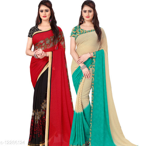 Anand Sarees Paisley, Floral Print Daily Wear Georgette Saree(Pack of 2)