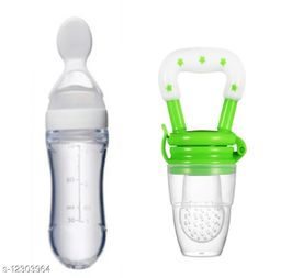 Silicone Bpa Free Feeding Bottle with Spoon And Baby Food Pacificer/Feeder(multicolor)color may be different