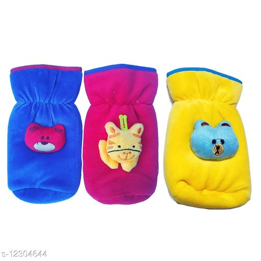 Baby Feeding Bottle Cover in Velvet Up to 240Ml Capacity Pair of 3 Pieces ( Assorted) Multicolor (Color May be Vary)