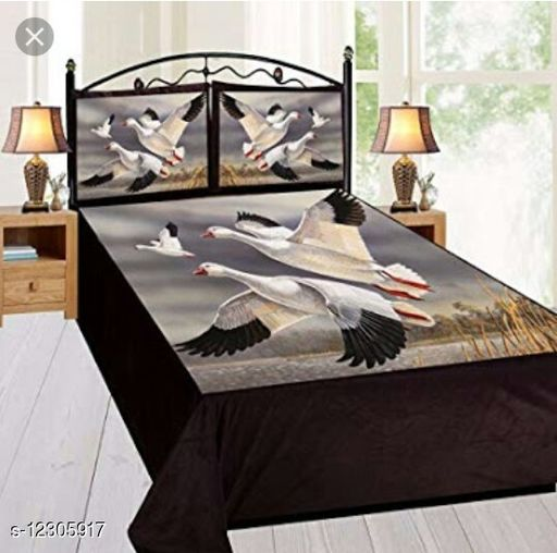 BR Creation Digital Panel Printed *King Sized* Velvet Bedsheet (1 Bedsheet with 2 Pillow Covers)