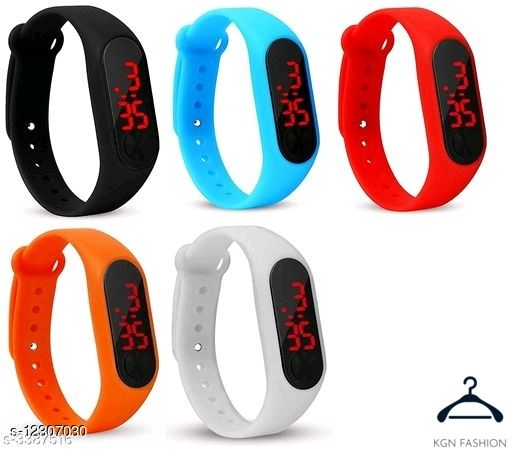 Trendy 5 colour kids and men watch black sky red orage white