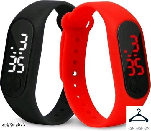 boy trendy watch red black  2 piece combo