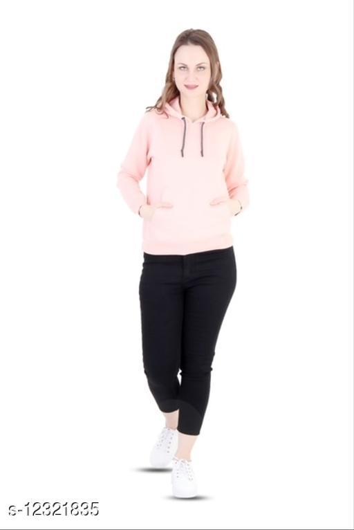 The Bonte Women Regular Fit Sweatshirt Hoodie - Peach