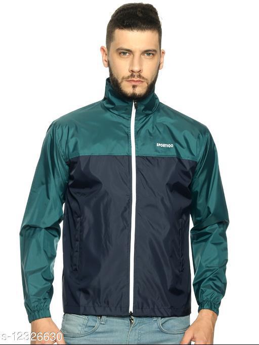 Men Dark Navy& Light Navy Combination Rain Jacket