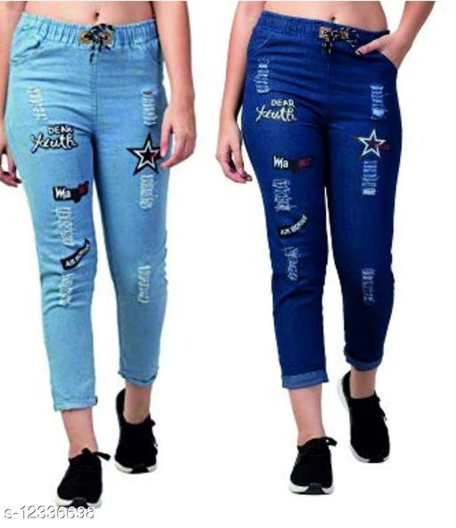 Trendy Urban Joggers Fit Women Denim Classy combo Blue Jeans For Girls(pack of 2)