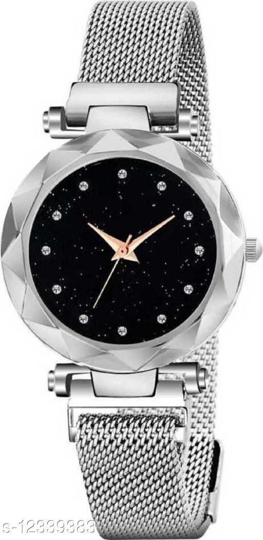 Silver Mesh Magnet Strap Magnetic Mesh Strap Analog Watch Girl's watch Analog Watch