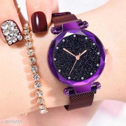 Bolun Purple Diamond dial Megnet Belt Girls And Women Wrist Watch