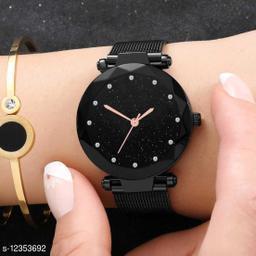 Bolun Black Diamond dial Megnet Belt Girls And Women Wrist Watch
