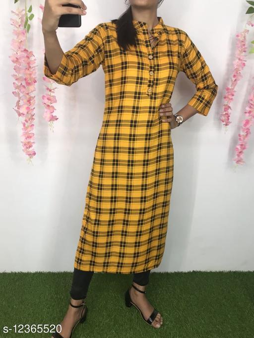 Women Rayon A-line Printed Yellow Kurti
