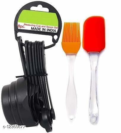 AD'S  Popular Combo - 8Pcs Black Measuring Cups and Spoons Set, Silicone Series Spatula and Brush Set