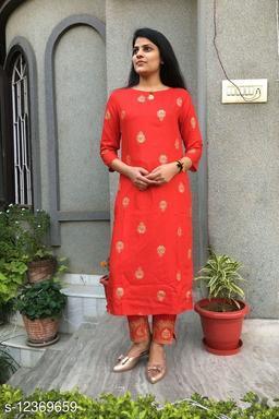 Women's Rayon RED Colour with Gold print KurtA set