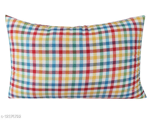 AARAS MEDIUM SOFT 100% ORGANIC Cotton Sleeping Pillow For Bed - Multistripe Check - 16 x 25 Inches - Set of 2