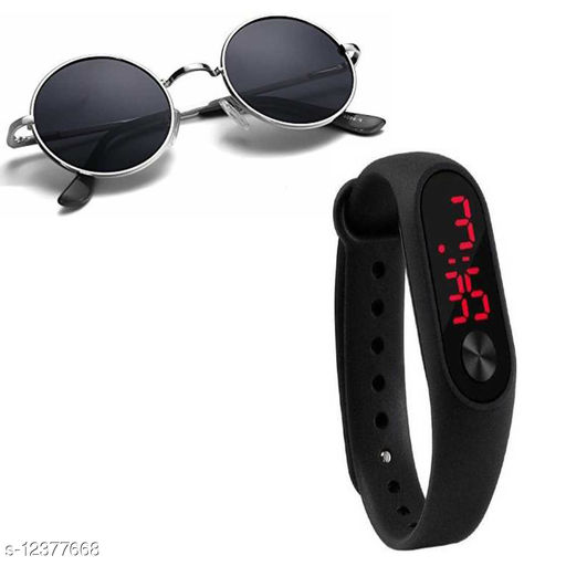 ROUND SILVER  BLACK SUNGLASS WITH WATCH BAND
