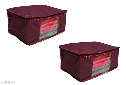 Mehroom Solid  Front Transparent Non-Woven Saree Cover Pack of 2