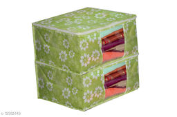 GreenFloral Printed Front Transparent Non-Woven Saree Cover Pack of 2