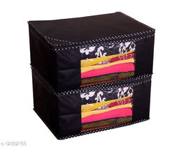 Black Solid  Front Transparent Non-Woven Saree Cover Pack of 2