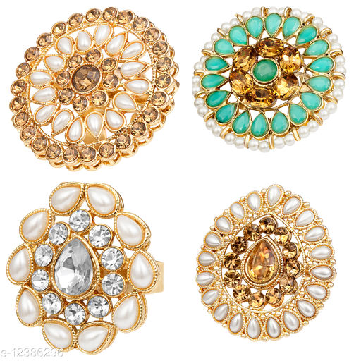 Kord Store Traditional Gold Plated Set Of 4 Alloy Adjustable Finger Ring Combo For Women