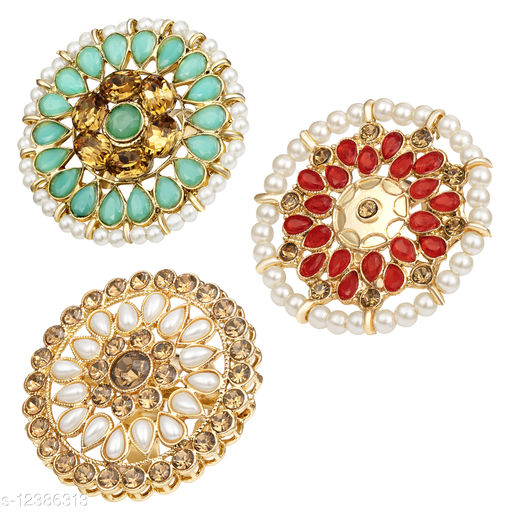 Kord Store Traditional Gold Plated Set Of 3 Alloy Adjustable Finger Ring Combo For Women