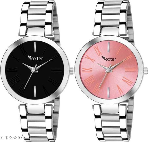 Miss Perfect Black and Pink Pack of 2 Stainless Steel Stylish Girls Watch Analog Watch