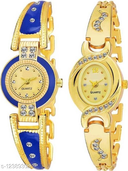 Miss Perfect Attractive Design Fresh Fashion Set Of 2 Multi Colored Multi Shaped Dial Metal Chain Strap Analog Watch - For Girls Analog Watch