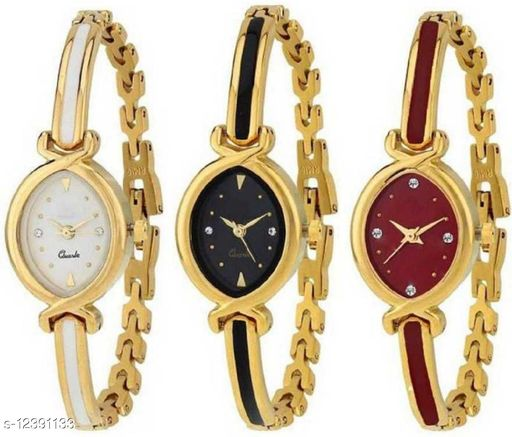 Miss Perfect New Oval Stylish Designer Gold Belt Bracelet Dial Golden Bangle 3 combo pack Watch NW-1086 Analog Watch