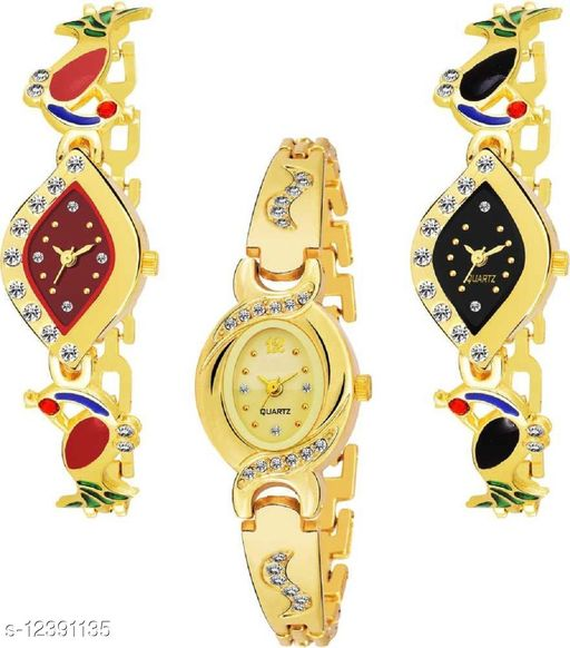 Miss Perfect Combo Pack 3 Attractive Designer Multicolor Dial Golden Chain Belt Bracelate Watch For Women & Girls Pq-18 Analog Watch