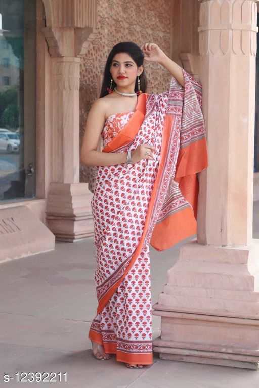 Women's Cotton Printed Saree with Unstiched Blouse Piece