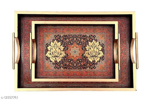 WOODEN TRAY SET OF 2