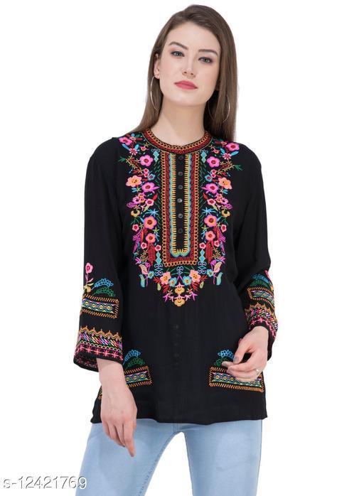SAAKAA Women's Crepe Black Embroidered Top