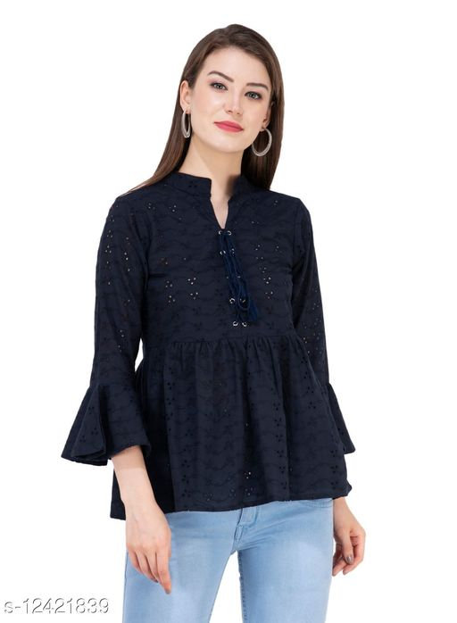 SAAKAA Women's Rayon Navy Blue Embroidered Top