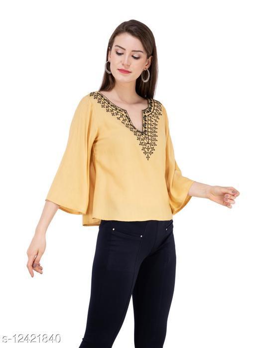 SAAKAA Women's Rayon Musturd Embroidered Top