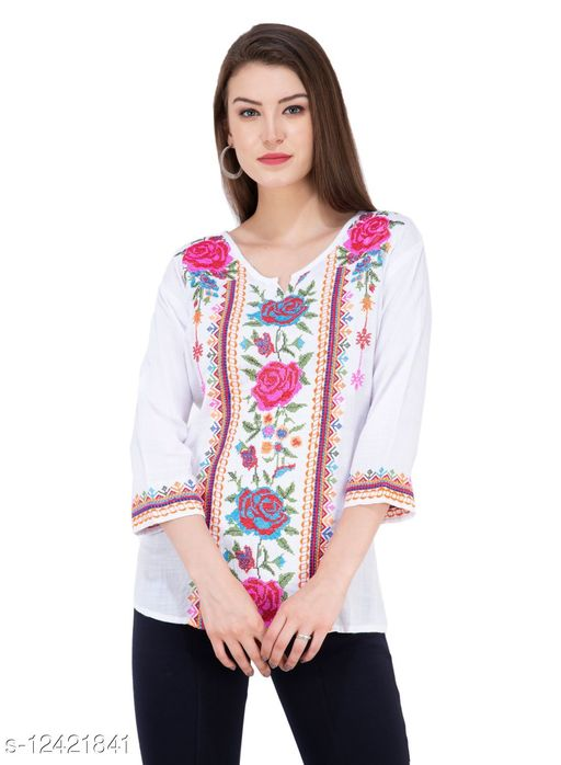 SAAKAA Women's Rayon Off White Embroidered Top