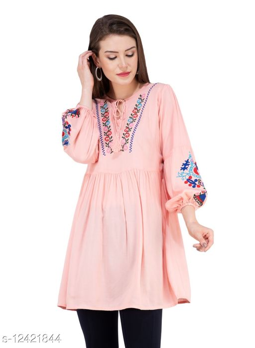 SAAKAA Women's Rayon Pink Embroidered Top