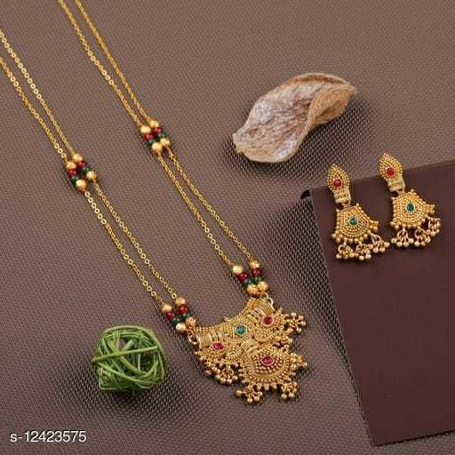 daily Wear Long Mangalsutra with earrings set