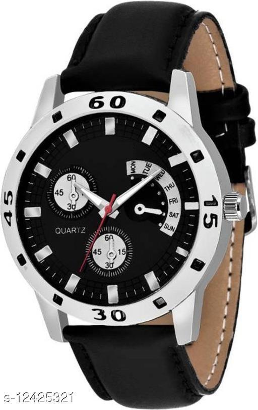 Black dial black belt watch for men