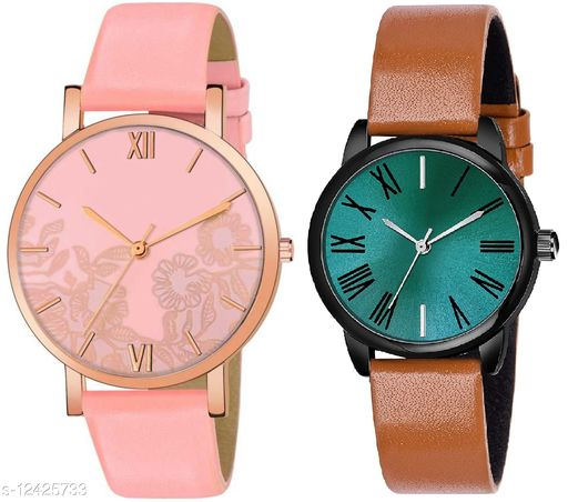 Green Scapper Multicolor Leather Strap Analog Watches For Girls & Women-6950