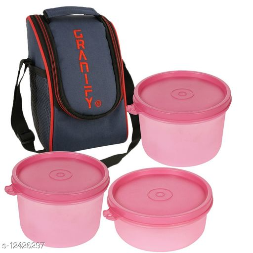 Lunch Box With 3 Plastic Containers and Bag