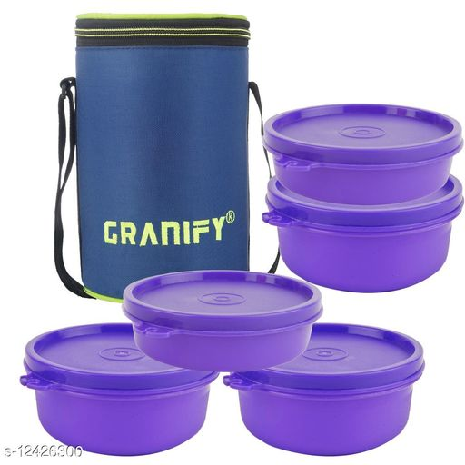Lunch Box With 5 Plastic Containers and Bag