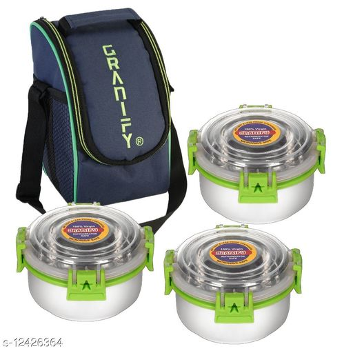 Lunch Box With 3 Steel Containers and Bag