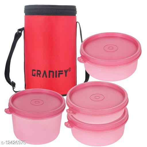 Lunch Box With 4 Plastic Containers and Bag