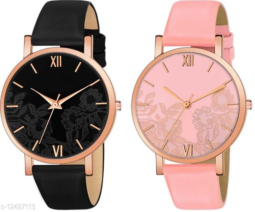 Green Scapper Multicolor Leather Strap Analog Watches For Girls & Women-0370